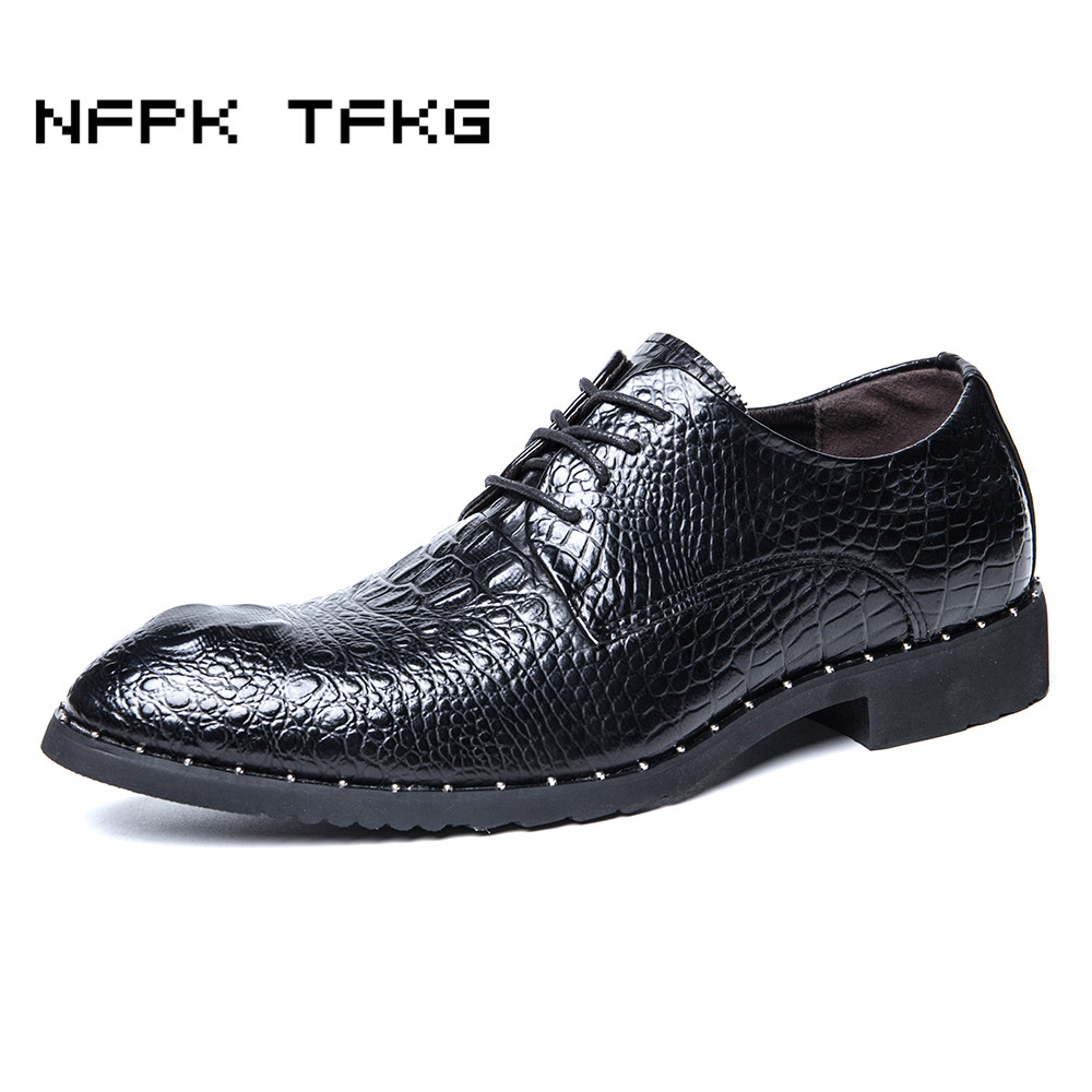 men luxury business wedding dress crocodile skin genuine leather shoes gentleman flats oxfords shoe lace-up breathable zapatos