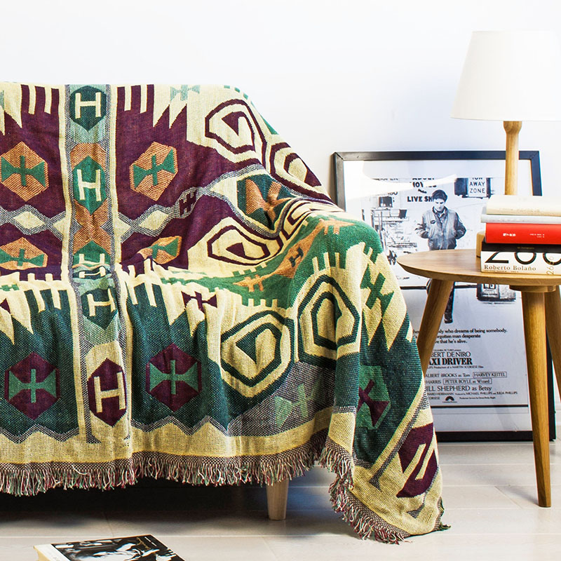 high quality 100 High Quality Indian Style 100% Cotton and Linen Thicken Blanket Sofa Towel, Bed Covers