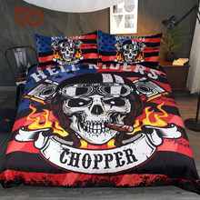 BeddingOutlet Fire Skull Bedding Set Chopper Print Boys Duvet Cover Set Hell Riders Bedclothes Gothic Striped Flag Home Textiles(China)