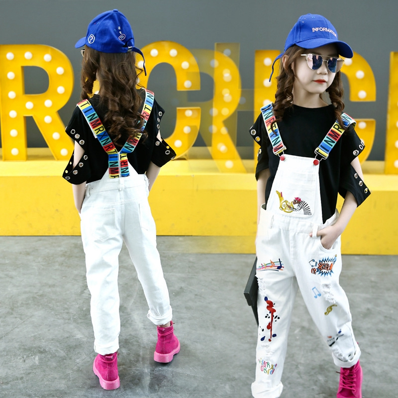 Fashion Girls Jeans Childrens Bib Pants Ripped Pencil Pants Graffiti Jeans Strap -6432
