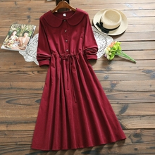 Бордовое красное вельветовое платье Осень Зима теплые платья для женщин Питер Пэн воротник с длинным рукавом Длинные винтажные платья M-XXL
