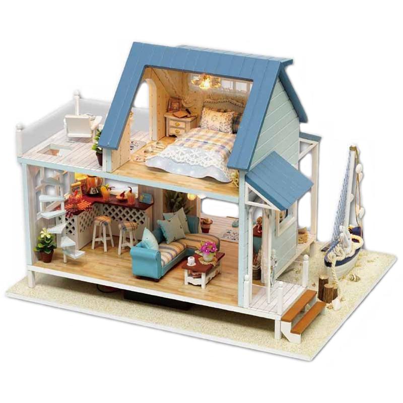Śliczne pokój DIY zabawkowy dom dla lalek modelu z LED 3D drewniane meble miniaturowy dom zabawki prezenty urodzinowe na morze karaibskie A037 # E w Domy dla lalek od Zabawki i hobby na  Grupa 2