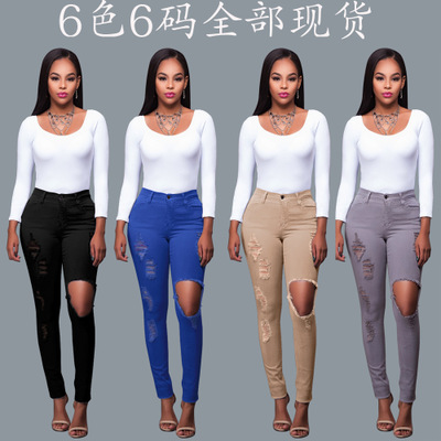 2017 High Waist Denim Jeans Ladies Cotton Pants Stretch Womens Ripped Washed Skinny Jean Female Plus Size Bodycon Pencil Pants high waist jeans ripped stretch pants