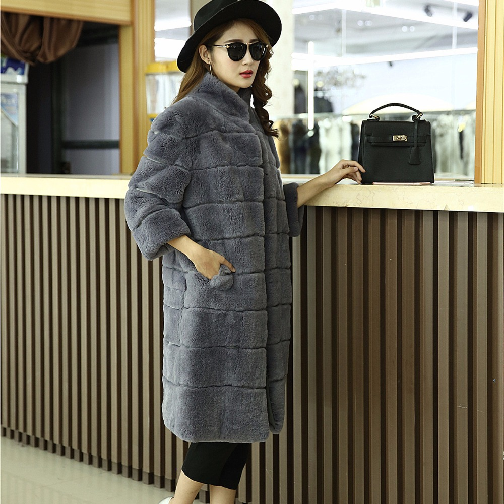 2017 long Fashion real rabbit fur coat plus size lady warm fur coats striped design overcoat winter luxu