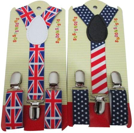 Free Shipping 2018 New Fashion Adjustable Clip-On Kids Children UK/USA American Flag Print Braces Suspenders