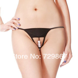 c3c237f13ba Sexy Lingerie Women s Sexy Open Crotch pearl Thongs G-string Panties  Knickers Underwear 6870