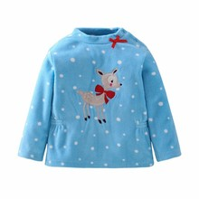 Фотография 2017 Autumn Girl Loose Coat Children Cartoon Deer Baby Shake Fleece Sweatshirt Kids T-shirts Cotton And Tops Childrens Girls