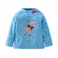 2017 Autumn Girl Loose Coat Children Cartoon Deer Baby Shake Fleece Sweashirt Kids T-shirts Cotton And Tops Childrens Girls