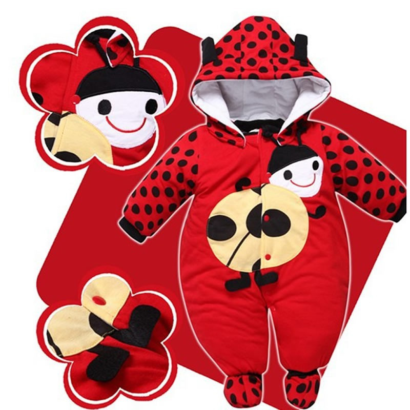 988614e93d2e3 2018 Winter Animal Padded Cotton Rompers red/yellow/beige newborn ...