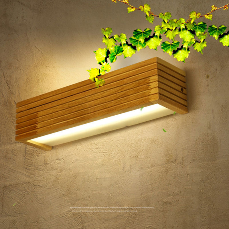 Simple rubber wood wall lamp for bedroom led bedside lamp creative modern mirror headlamp cabinet bathroom wooden wall light 009