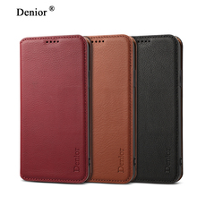 NeWisdom original for iPhone X case NATURAL Leather Folio Wallet Cases Apple iPhoneX Card Slot flip iphone Xs max cover