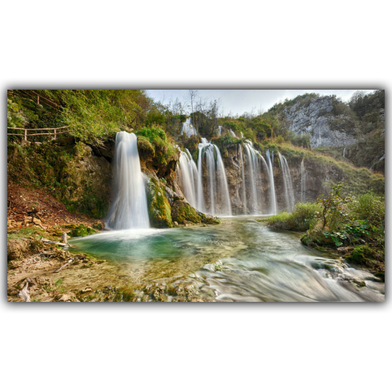 Modern Home Decoration Nature Mountains, Small Waterfall Scenery Silk Photo Poster Wallpaper FJ061