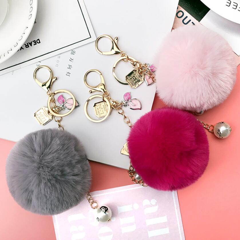 Fluffy Fur Ball Keychain Pearl Key Chain Pompons Pompom Porte Clef Charm