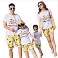 Free Shipping 2017 Holiday Summer Family Matching Outfits Flower cotton mother daughter father son clothes sets T shirt + Pants