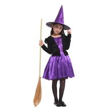 Purple Black Kids Children Little Sorceress Witch Costumes for Girls Halloween Purim Carnival Christmas Party Fancy Dress Hat