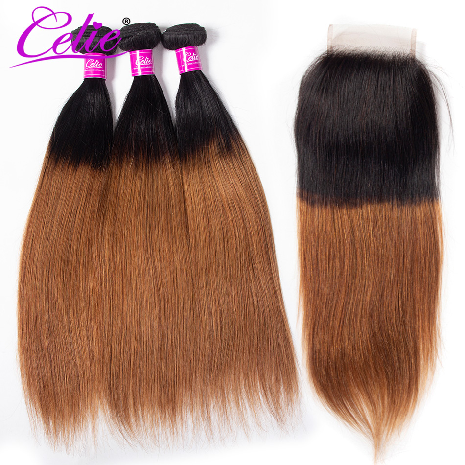 Celie Human Hair 1B 30 Ombre Bundles With Closure Colored Brazilian Straight Hair Weave Bundles With