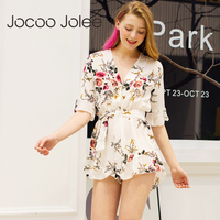 Jocoo Jolee Sexy V Neck Jumpsuit Lace Up Bohemian Style Floral Pattern Tots For Girls 2018