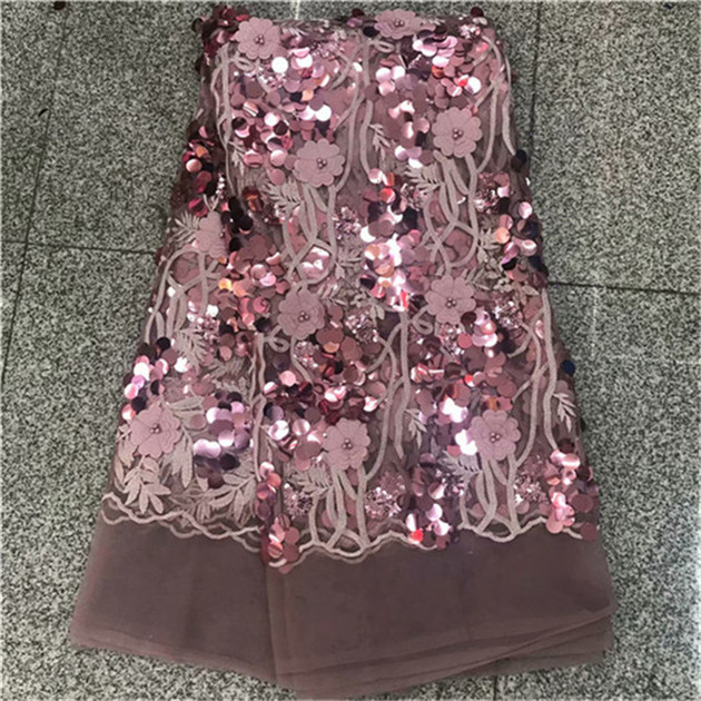 Hot pani Africa fine lace fabric high quality French purple applique 3D beaded tulle lace fabric