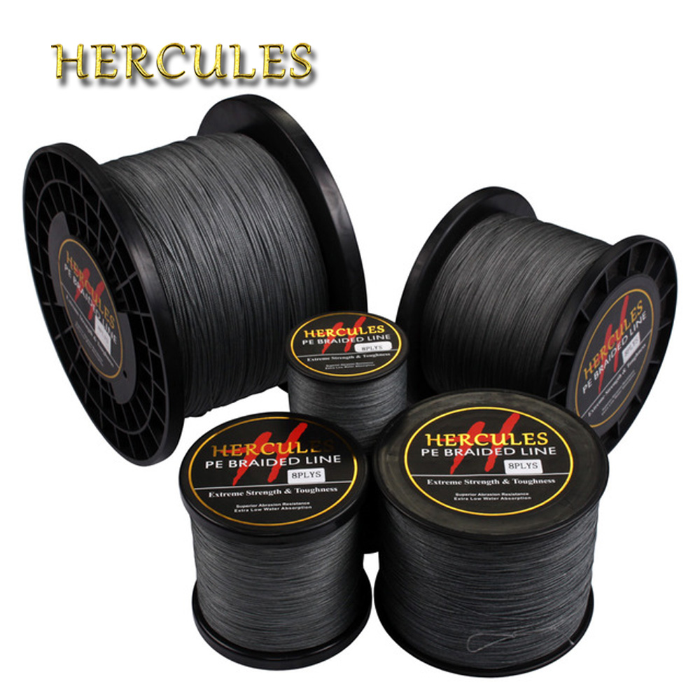 Hercules Braided Fishing Line 8 Strands Gray 100M 300M 500M 1000M 1500M 2000M Saltwater Fishing Cord linha multifilamento 8 fio