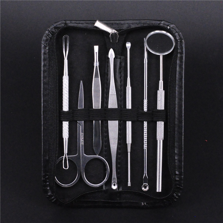 2018 Extrator De Cravo Puntos Negros 7 Pieces Of Stainless Steel Double Head Pimples With A Hairpin Clip For Acne Treatment