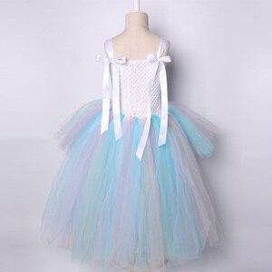 Image 4 - Пастельное Радужное платье пачка с единорогом для девочек, платье на день рождения с повязкой на голову, детское платье принцессы на Хэллоуин, костюмы