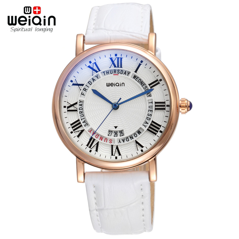 Weiqin Roman Style Day Week Rose Gold Case Fashion Watches