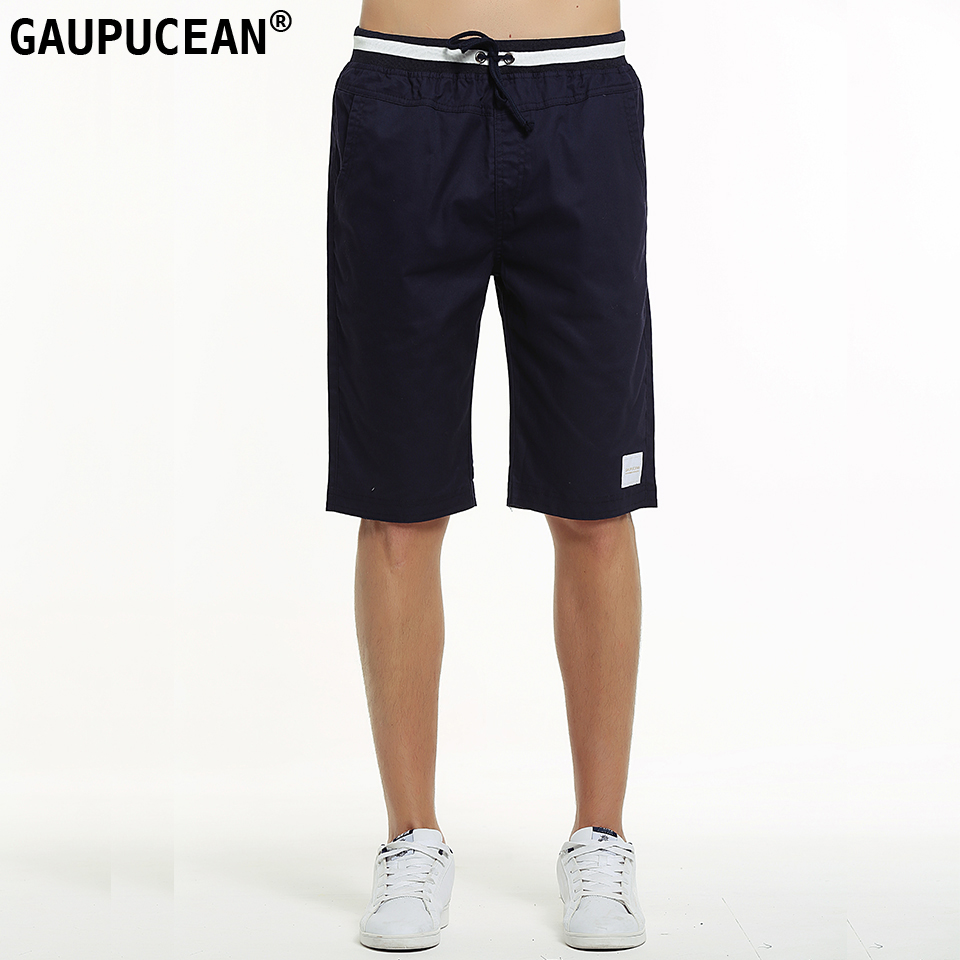 Gaupucean 100% Cotton Knee Length Man Casual Chino Short Pants Solid Straight Summer Khaki Navy Elastic Waist Chino Men Shorts