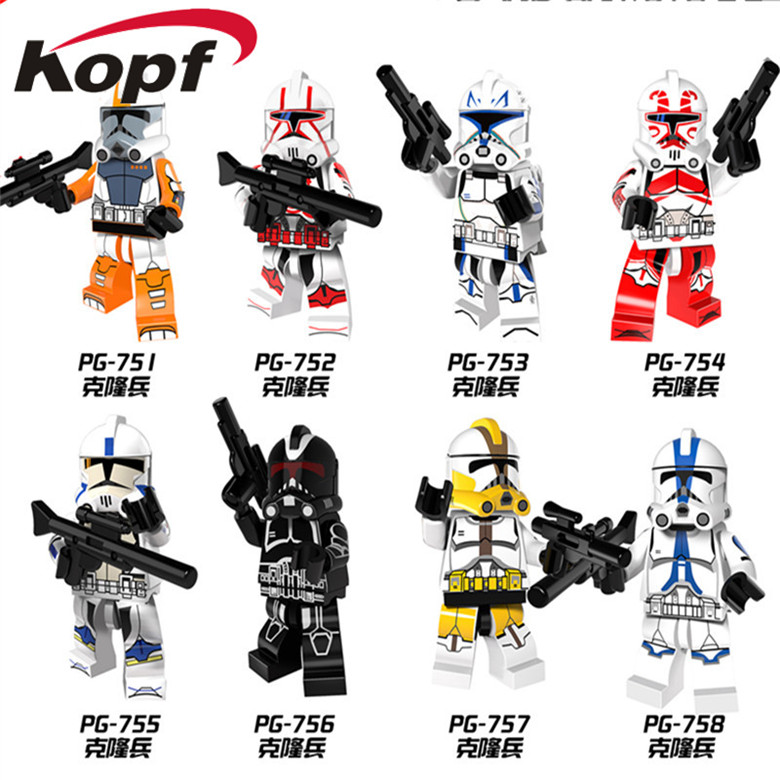 Single Sale White Clone Yellow Utapau Trooper Stormtrooper Commander Appo Star Wars Building Blocks Toys for children PG8077 90pcs decool 901 909 star wars white solider clone trooper captain rex jek 14 clone commander model building blocks bricks toys