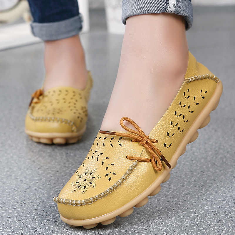 New Arrival Women Shoes Genuine Leather Women Flats Oxford Women Flats Women Casual Female Loafers Ladies Shoes Plus Size 43 44
