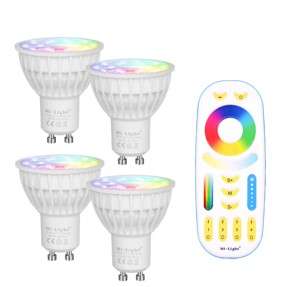 Mi Light Dimmable Led Bulb 4W GU10 RGB CCT(2700-6500K) led Lamp Indoor Decoration + 2.4G RF LED Remote Control zuke rechargeable outdoor solar light dimmable e27 led bulb lamp remote control indoor reading lighting camping night light