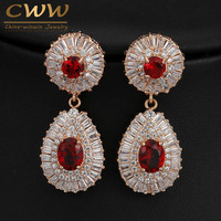 18K Champagne Gold Plated Full Square And Round CZ Diamond Pave Round Drop Wedding Earrings With