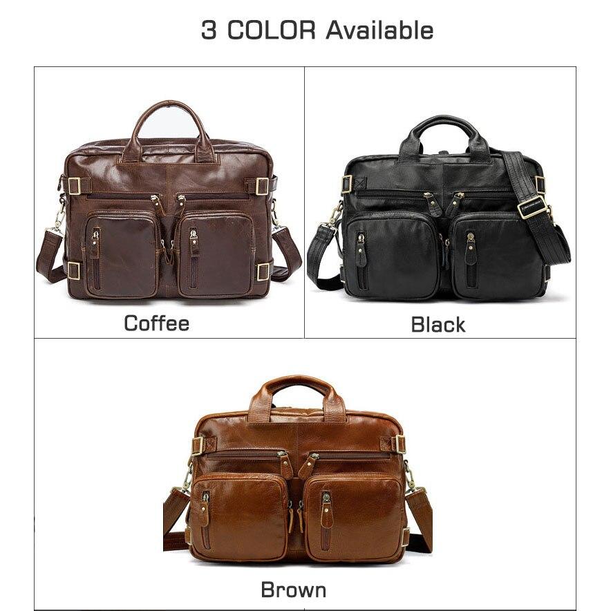 Crossten Multifunctionele Natuurlijke Koeienhuid 100% Echt Leer mannen Aktetas Grote Capaciteit Zakelijke tas Laptop Messenger Bag-in Aktetassen van Bagage & Tassen op  Groep 3