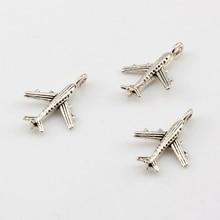 100 pcs Antique silver Zinc Alloy 3D Aircraft Charm Pendants DIY Jewelry 15.5x22.5 mm A-004