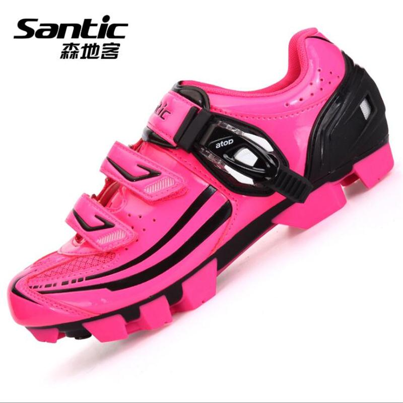 Santic Women MTB Cycling Shoes Outdoor Sports Shoes Breathable Microfiber&Mesh Mountain Bike Bicycle Shoes S12015 Free shipping delicate rhinestone leaf shape cuff bracelet for women