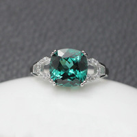 3CT Verdelite ring trendy shanks green tourmaline gemstones prong setting for women silver 925 rings created adjustable jewelry