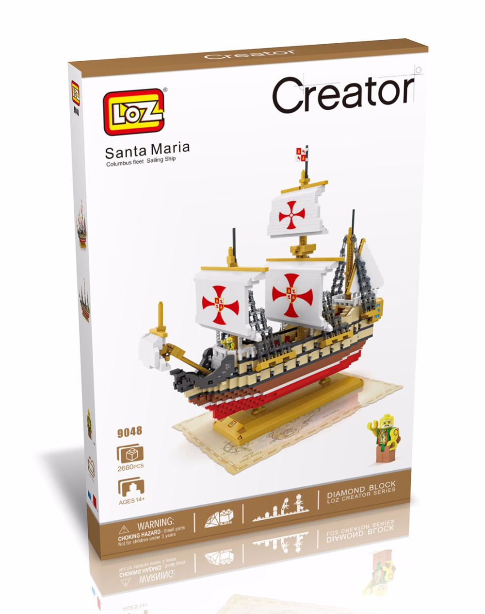 LOZ Diamond Blocks Santa Maria DIY Building Toys Columbus Fleet Sailing Ship Educational Blocks for Children Gifts 9048 supra is 2740