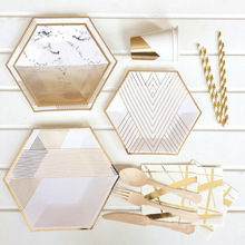 AVEBIEN 48pcs/lot New Party Disposable Paper Tray Tableware  Portable Picnic Wedding Baby Shower Birthday Suppli