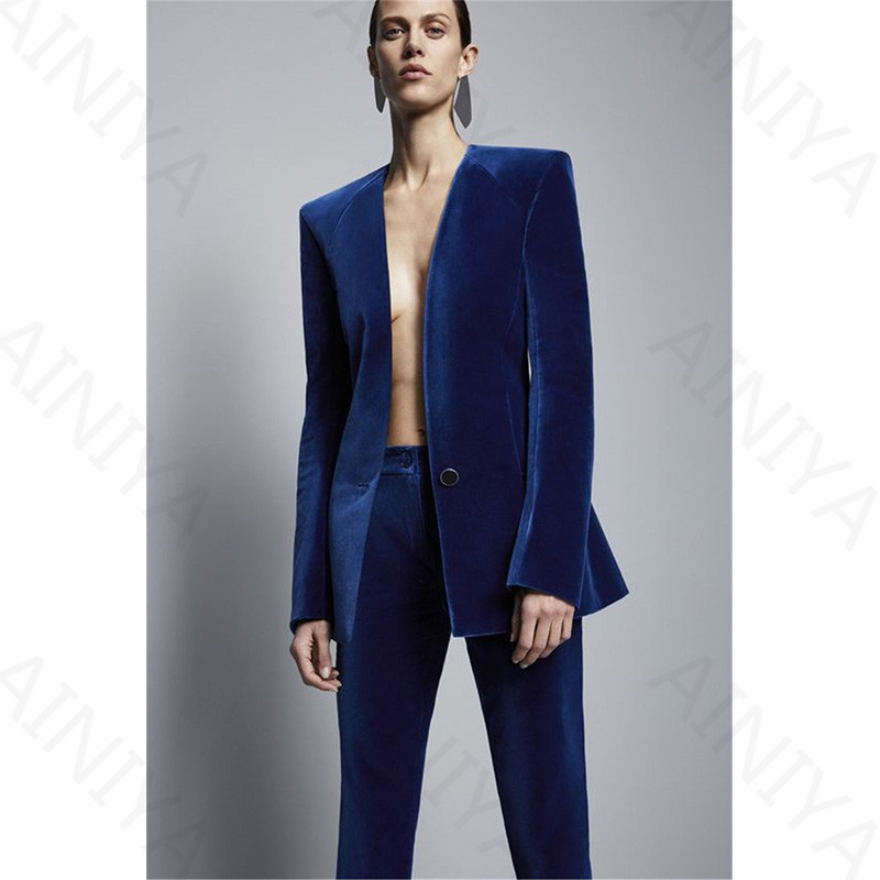 Синий Королевский вельветовый пиджак + строгие брюки, брюки, Стильный деловой костюм, Деловые женские облегающие костюмы, Женская Офисная форма 2
