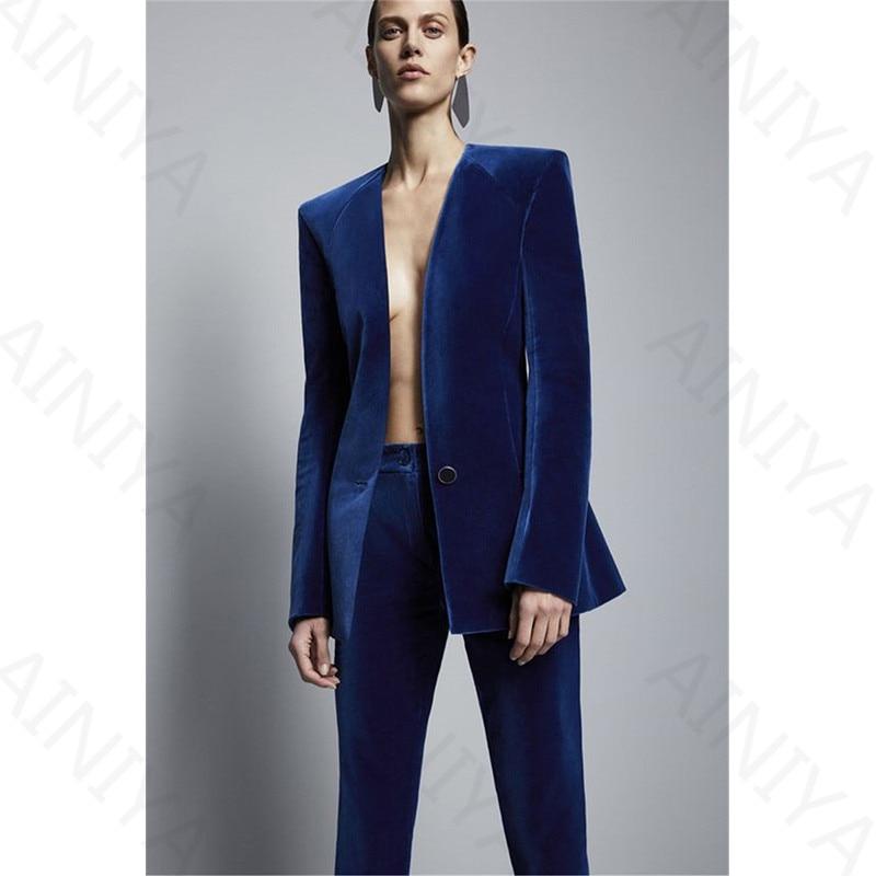 Bleu Royal Velours Veste + Pantalons Formelle Pantalon Élégant Costume D'affaires Femmes D'affaires Slim Fit Costumes Femmes de Bureau Uniforme 2