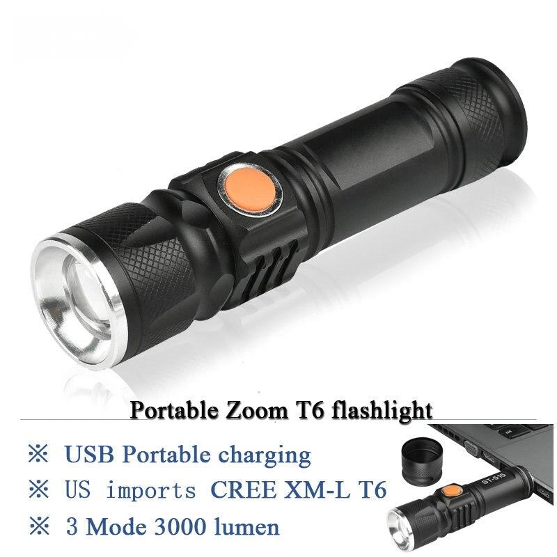 Pocket Lights Mini Zoom Led Flashlight Cree Xml T6 Torch Usb Charger