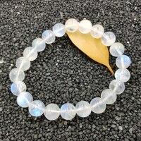 Lii Ji Natural Gemstone High Blue Luster 8mm Moonstone Bracelet For Women Fine Jewelry Bracelet