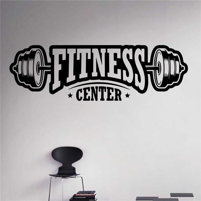 Free shipping Fitness Center Wall Decal Workout Gym Vinyl Sticker Healthy Lifestyle Home Decor Wall Art Murals Wall Decals C06