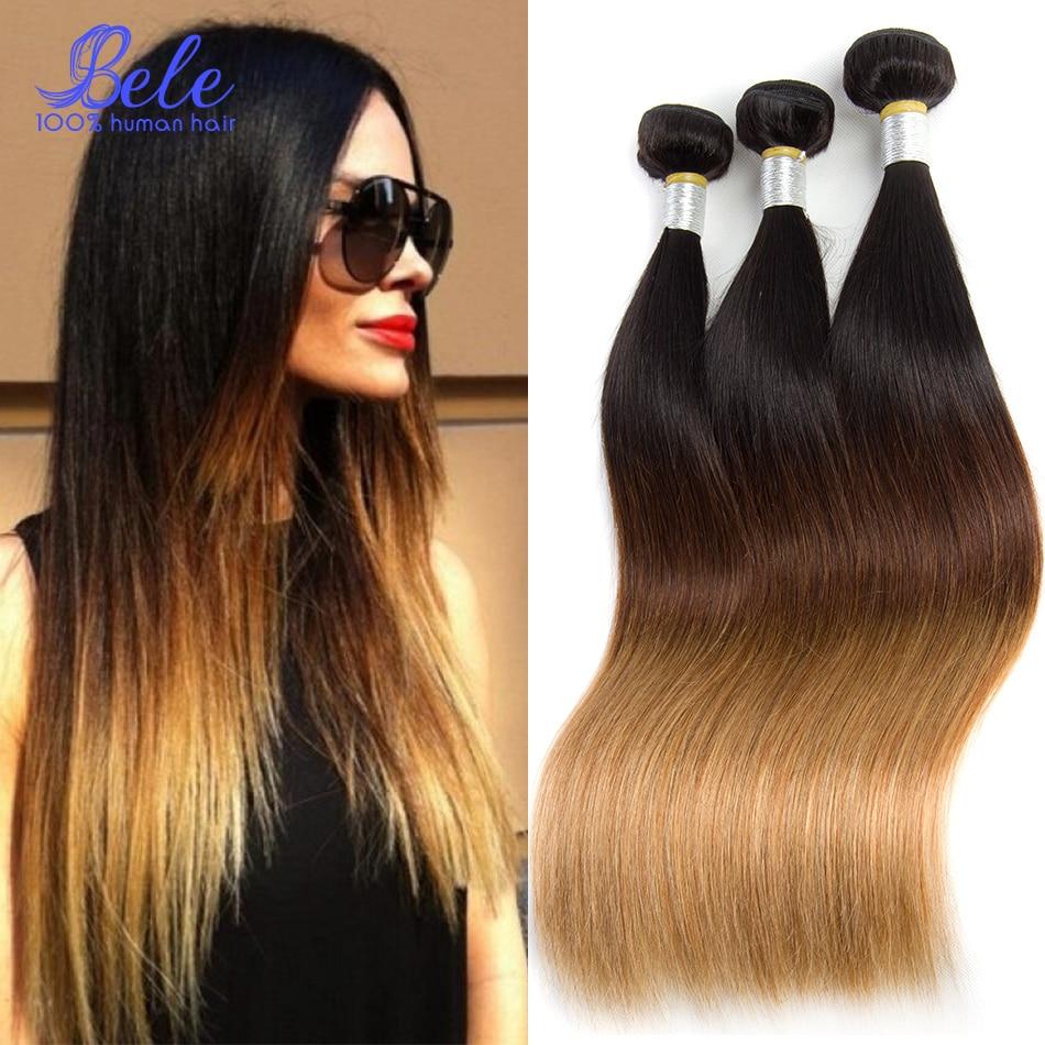 Ombre Brazilian Hair 4 Bundles Straight 3 Tone Color 1b 4 27 Colored