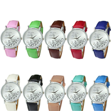 SmileOMG New Women Leather Watch Who Cares I am Late Anyway Letter Watches,Aug 18
