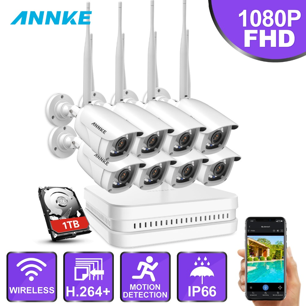ANNKE 8CH 1080P FHD Wi Fi Wireless NVR CCTV System 8PCS IP Camera WIFI IP66 Waterproof CCTV Security Camera Surveillance Kits-in Surveillance System from Security & Protection