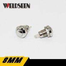8mm reset momentâneo interruptor de botão de metal 2a/250v impermeável potência do carro