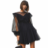 Women Fashion Mesh Black Dress Ruffled Long Lantern Sleeve Ball Gown Dress High Waist Dot Decor Mini Dress Streetwear