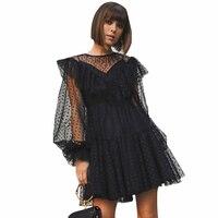 Women Fashion Mesh Black Dress Ruffled Long Lantern Sleeve Ball Gown Dress High Waist Dot Decor Mini Dress Streetwear