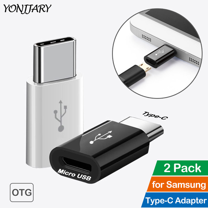2Pcs USB C Male Type-C To Micro USB Connector OTG Adapter For Samsung Galaxy S8 S9 S10+ Plus Note 8 9 A6s A30 A40 A50 A60 M30