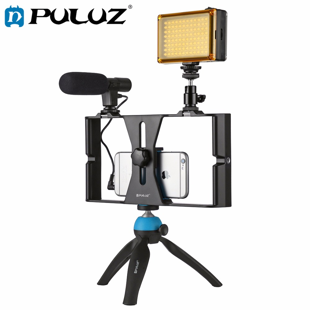 PULUZ Smartphone Video Rig + LED Studio Light + Video Microphone + Mini Tripod Mount Kits with Cold Shoe Tripod Head for iPhone ulanzi selfie stick tripod w by m1 microphone led video light aluminum phone tripod mount for iphone video youtube livestream